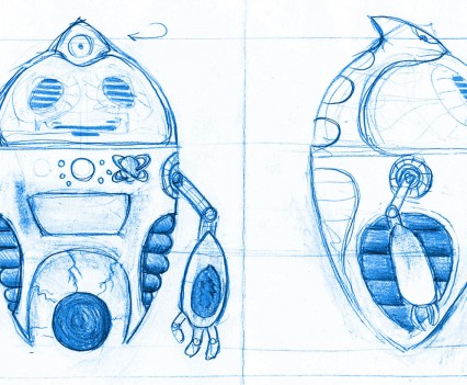Design Sketch for Seven character robot