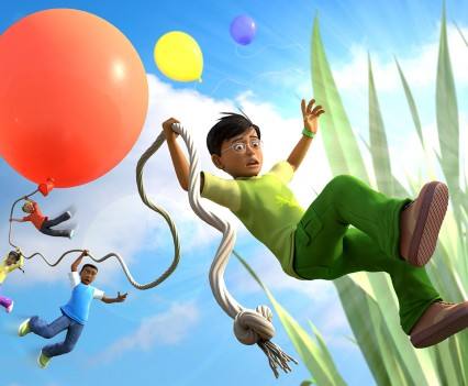 Ant and characters falling from balloon