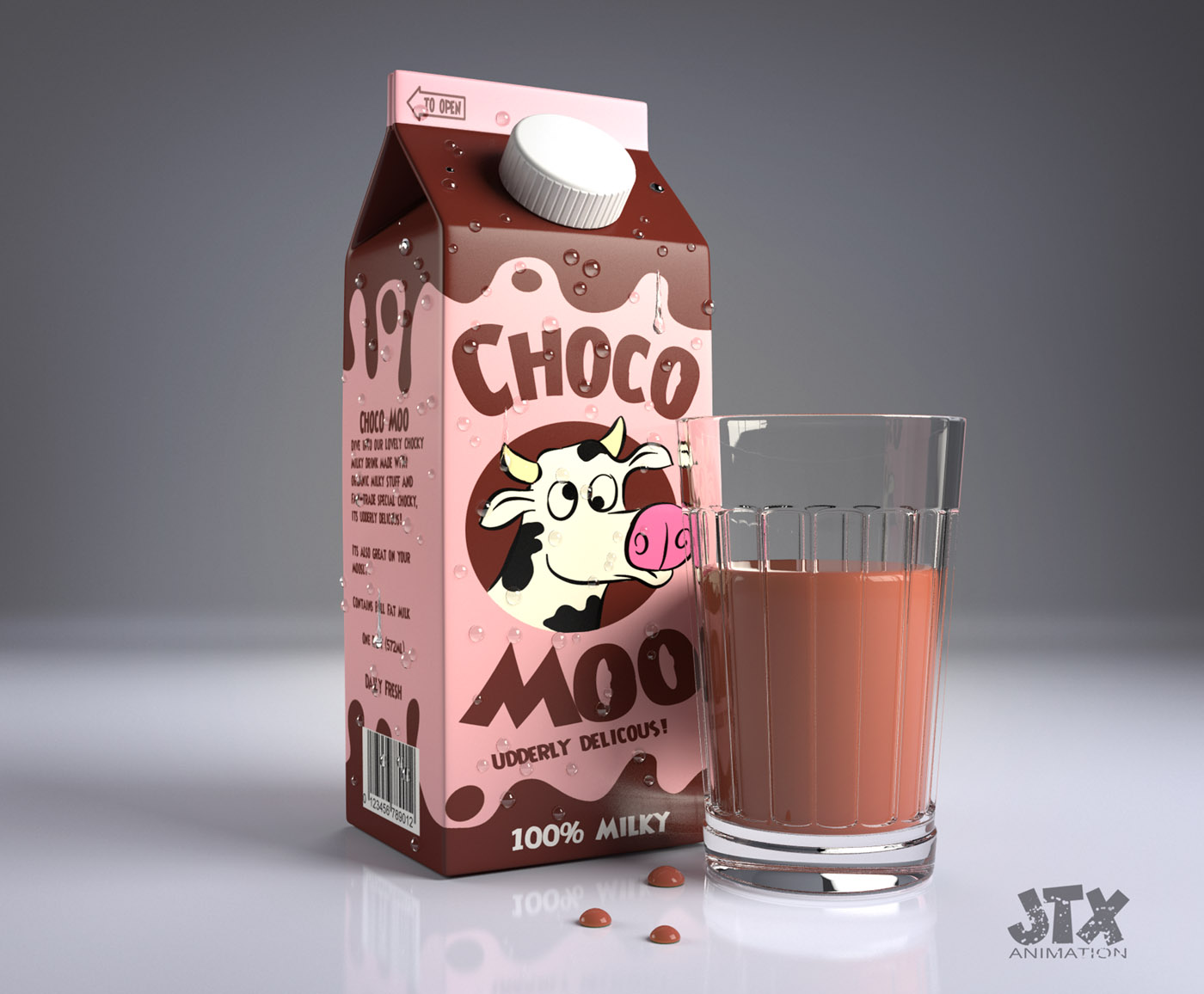 Studio shot of Chocomoo drink and glass created in vray
